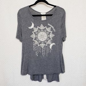 Moonchild*Wanderlust Tee* Crochet & Crystals*Sz XL